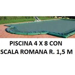 COPERTURA INVERNALE 5,40 x 9,40 M. + SCALA ROMANA R. 1,50 CON SALSICCIOTTI PER PISCINE 4 x 8 metri CON SCALA ROMANA - AKUACOVER