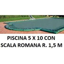 COPERTURA INVERNALE 6,40 x 11,40 M.+ SCALA ROMANA R. 1,50 CON SALSICCIOTTI PER PISCINE 5 x 10 metri CON SCALA ROMANA - AKUACOVER