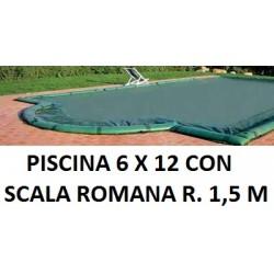 COPERTURA INVERNALE 7,40 x 13,40 M.+ SCALA ROMANA R. 1,50 CON SALSICCIOTTI PER PISCINE 6 x 12 metri CON SCALA ROMANA - AKUACOVER