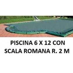 COPERTURA INVERNALE 7,40 x 13,40 M.+ SCALA ROMANA R. 2,00 CON SALSICCIOTTI PER PISCINE 6 x 12 metri CON SCALA ROMANA - AKUACOVER